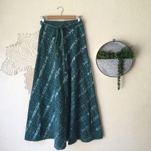 Vintage ikat waist tie wrap woven green maxi skirt